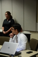 CASNR faculty member Ever Macias listens intently to one of the session speakers.