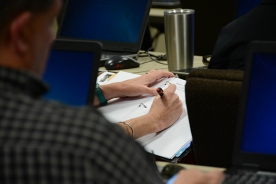 Faculty and staff take notes during the academy, which is held throughout October.