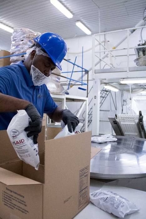 Packages of Breedlove's dehydrated meals will ship from Lubbock, Texas to communities all over the world. (