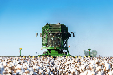 During the fall, Doug can be found out in the fields harvesting cotton used for Homestead Cotton Co. products. Photo courtesy of Homestead Cotton Co.